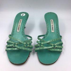 Manolo Blahnik Aqua Croc Embossed Slide Sandals 8